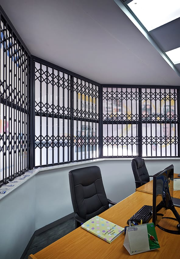 secure your working place with Trellidor fixed windows