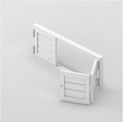 Security Shutter Floating BiFold 3 Panels Window